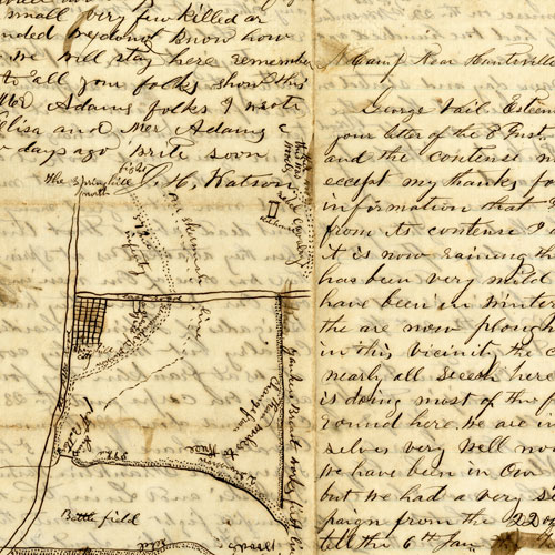 Letter with map of Battle of Spring Hill, Tennessee, 1865